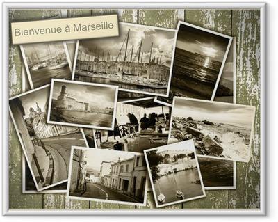 Collage udsigt over Marseille, sort / hvid billeder på et træ b Indrammet plakat