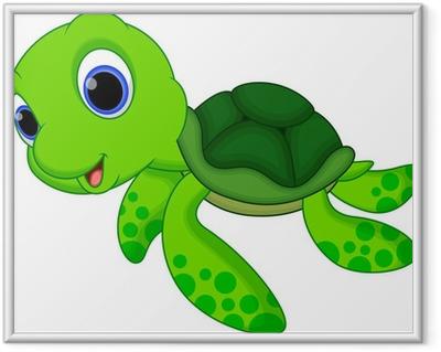 Poster i Ram Gullig sköldpadda tecknad