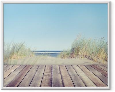 Gerahmtes Poster Strand und Holz Plank