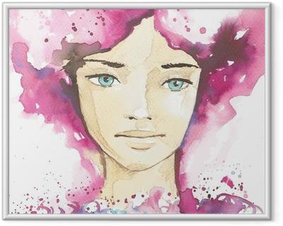 Innrammet plakat Illustrasjon av abstrakt portrett av en kvinne