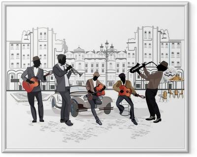 Gerahmtes Poster Serie von Straßenansichten mit Musikern