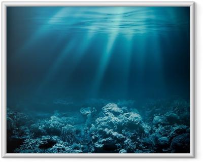 fd96aa28 Innrammet plakat Hav dyp eller hav under vann med korallrev som bakgrunn for