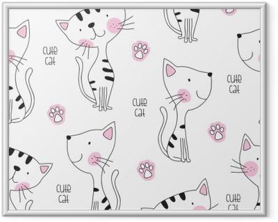 Poster en cadre Illustration vectorielle de chat mignon sans soudure