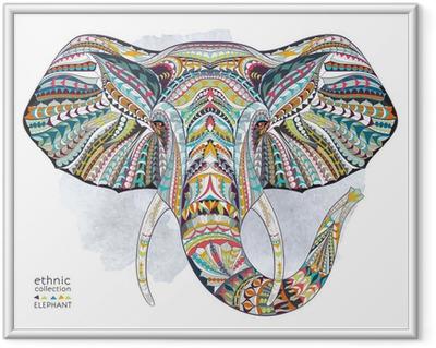 Innrammet plakat Etnisk mønstret hode av elefant på grunne bakgrunn / afrikansk / indisk / totem / tatovering design. Bruk for utskrift, plakater, t-skjorter.