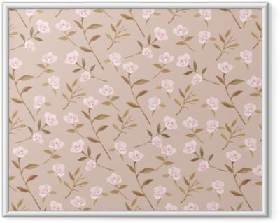 Camellia garden on the creamy background - Nina Ho Framed Poster