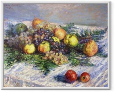 Claude Monet - Päärynät ja viinirypäleet. Asetelma Hedelmät Kehystetty juliste
