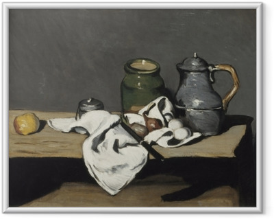 Poster in Cornice Paul Cézanne - Natura morta con un bollitore