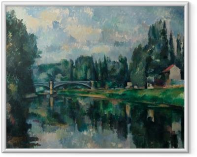 Gerahmtes Poster Paul Cézanne - Ufer der Marne (Brücke über die Marne in Créteil)
