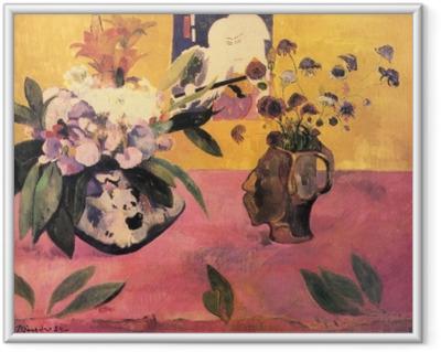 Ingelijste Poster Paul Gauguin - Stilleven met een hoofdvormige vaas en een Japanse houtsnede