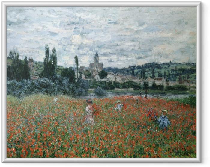 Poster en cadre Claude Monet - Champ de coquelicots près de Vétheuil - Reproductions
