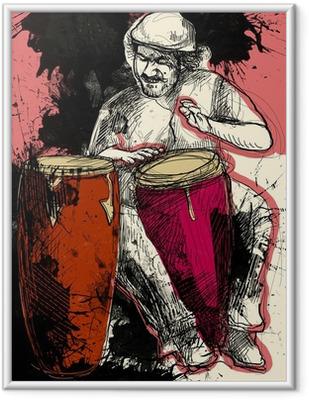 Plakat w ramie Conga player - ręcznie rysowane ilustracji grunge