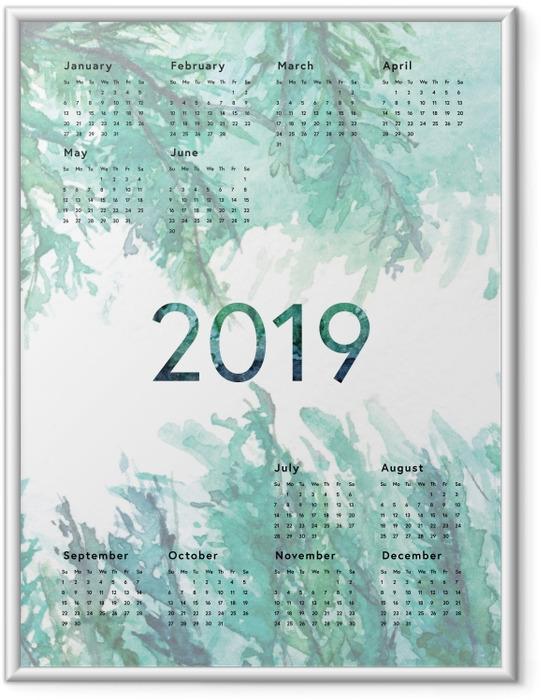 Plakat w ramie Kalendarz 2019 - Zielony - Kalendarze 2018