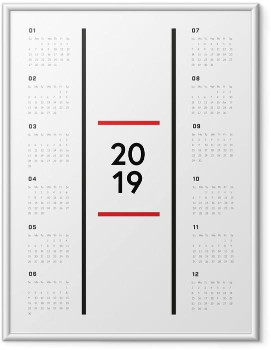Ingelijste Poster Kalender 2019 - Minimalistische -
