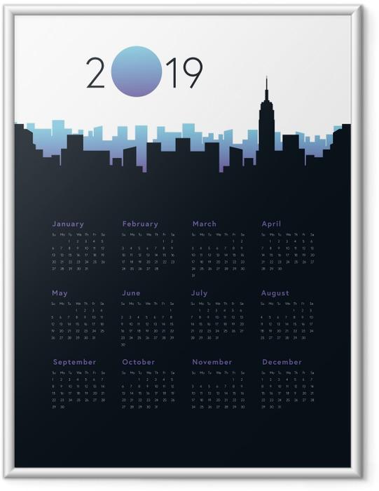 Póster com Moldura Calendário 2019 - Cidade -