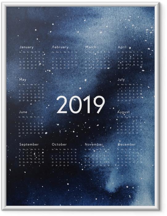 Plakat w ramie Kalendarz 2019 - galaktyka - Kalendarze 2018
