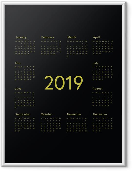 Póster com Moldura Calendário 2019 - preto -