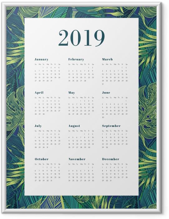 Plakat w ramie Kalendarz 2019 - Liście Monstera - Kalendarze 2018