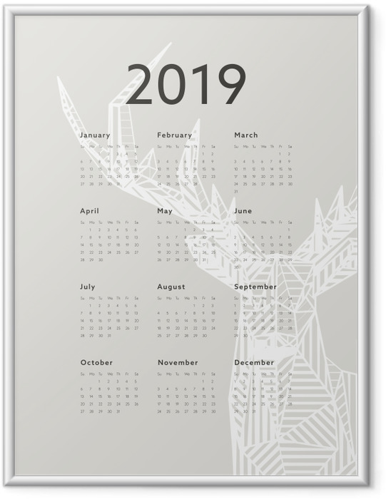 Ingelijste Poster Kalender 2019 - herten -