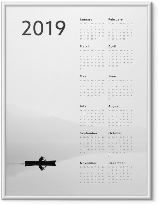 Plakat w ramie Kalendarz 2019 - jezioro - Kalendarze 2018