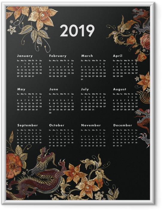 Ingelijste Poster Kalendarz 2019 - herfst -