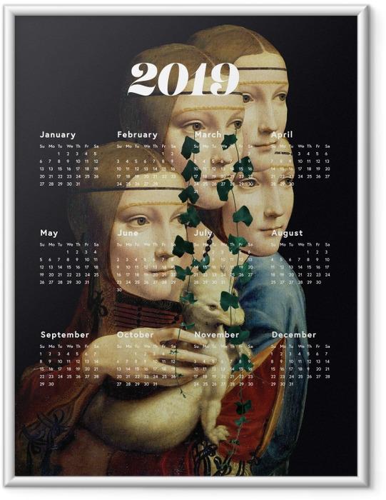 Gerahmtes Poster Kalendarium 2019 - Frauen und Kunst -