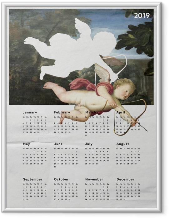 Gerahmtes Poster Kalendarium 2019 - Engel -