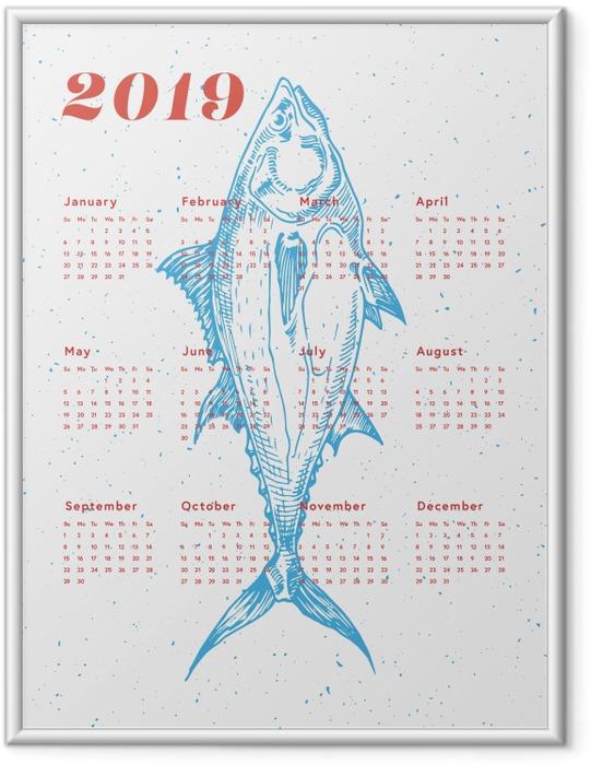 Gerahmtes Poster Kalendarium 2019 - Fisch -