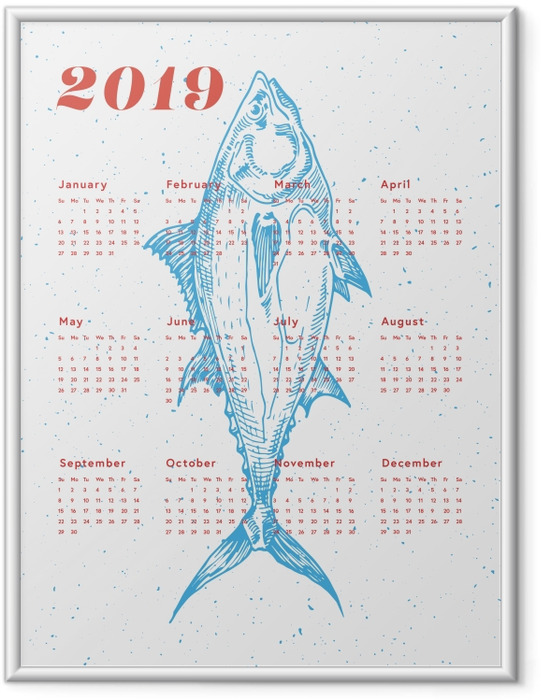Poster en cadre Kalendarz 2019 - poissons -