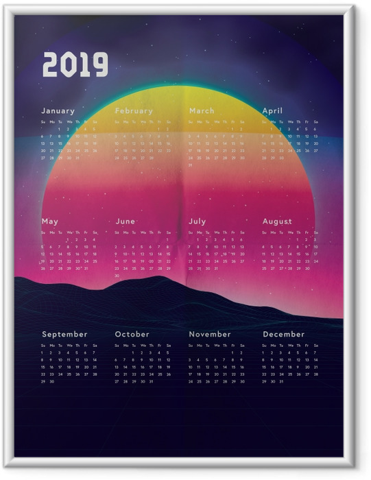Plakát v rámu Kalendarz 2019 - sunset -