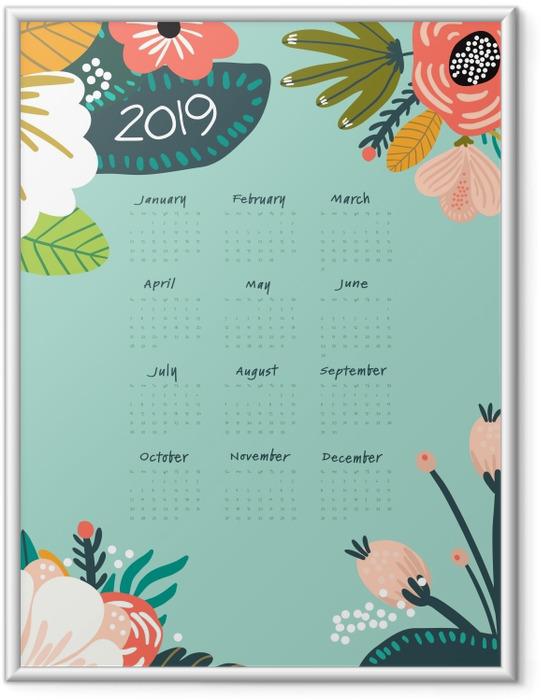 Çerçeveli Poster Takvim 2019 - turkuaz ve çiçekler -