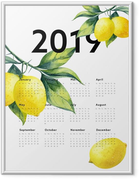 Ingelijste Poster Kalender 2019 - citroenen -