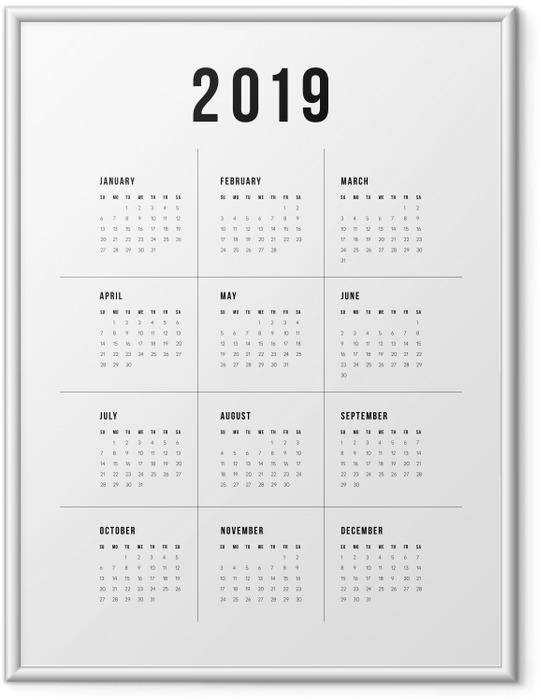 Póster com Moldura Calendário 2019 - tradicional -