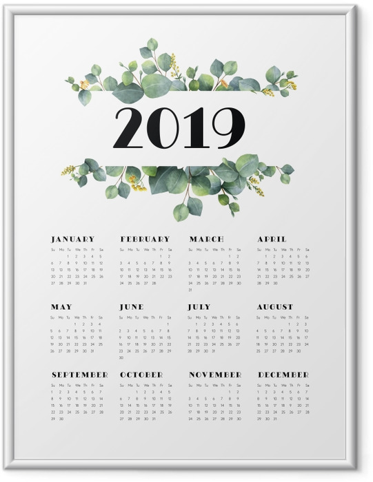 Ingelijste Poster Kalender 2019 - bladeren en witte -