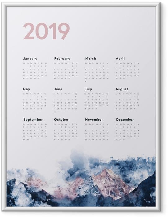 Póster com Moldura Calendário 2019 - montanhas -