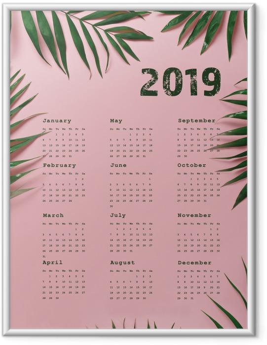 Ingelijste Poster Kalender 2019 - roze en bladeren -