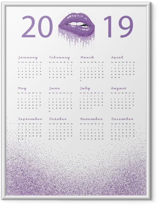 Çerçeveli Poster Takvim 2019 - mor dudaklar -