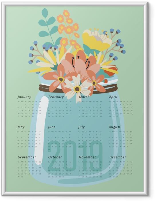 Gerahmtes Poster Kalender 2019 - Blumen -