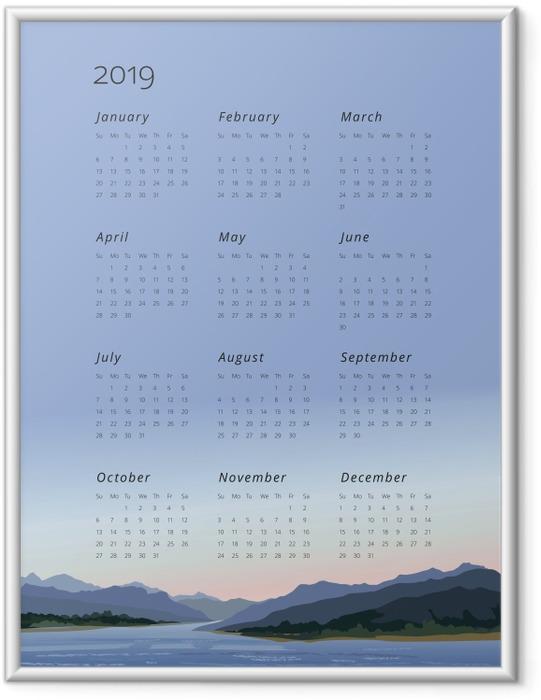 Plakát v rámu Kalendář 2019 - zachovat klid -