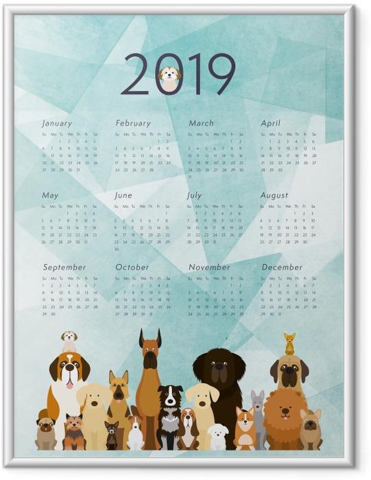 Çerçeveli Poster Takvim 2019 – Köpekler -