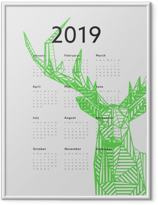 Gerahmtes Poster Kalender 2019 - Grüner Hirsch -