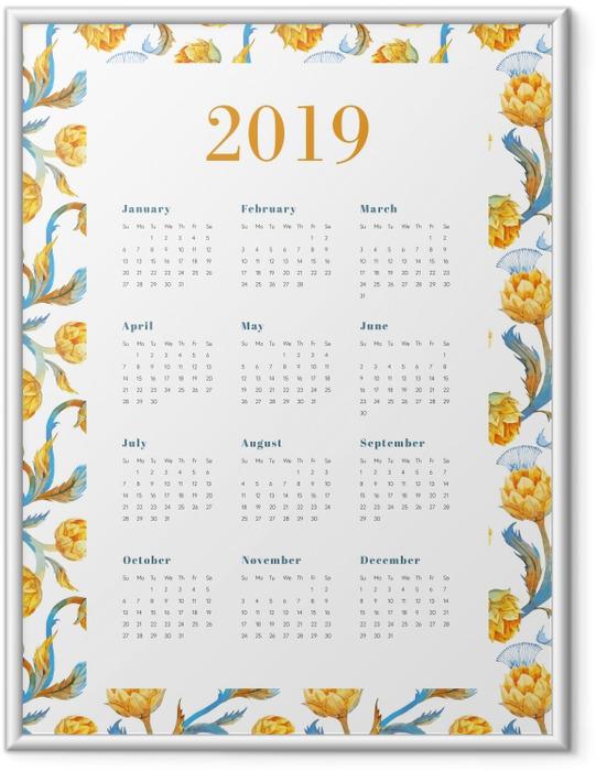 Çerçeveli Poster Takvim 2019 - Sarı çiçekler -