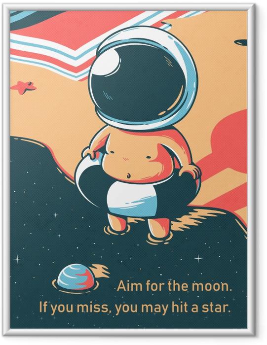 Ingelijste Poster Richt je op de maan. Als je mist, kun je alsnog een ster raken. - W. Clement Stone -