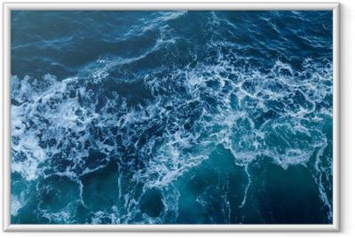 Çerçeveli Poster Dalgalar ve köpük ile mavi deniz doku