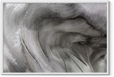 Ingelijste Poster Achtergrondstructuur van het glanzende metalen oppervlak. de gebogen plaat is gemaakt van ijzer.