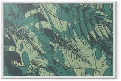 Poster en cadre Seamless avec la main verte tirée des plantes tropicales