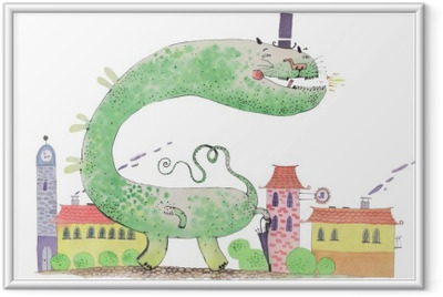 watercolor dragon Framed Poster