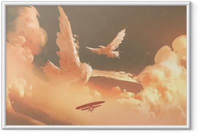 Fugle formet sky i solnedgang himmel, illustration maleri Indrammet plakat