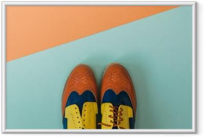 Flad lay mode sæt: farvede vintage sko på farvet baggrund. Ovenfra. Indrammet plakat