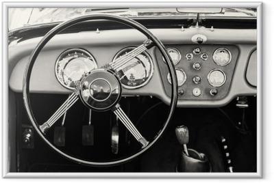Plakat w ramie Kierownicy i deski rozdzielczej w zabytkowym rocznika samochodu