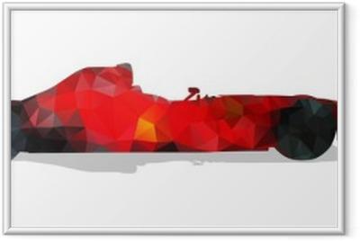 Póster com Moldura Carro de corrida de Fórmula. Ilustração geométrica abstrata vermelho vetor.